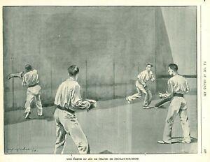 Publicité ancienne document partie jeu de pelote Neuilly-S 1900 issue magazine