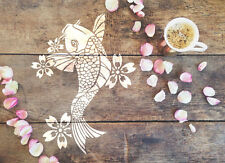 A4 Koi Fish Stencil Shabby Chic Furniture Fabric Ornate Airbrush Garden MYLAR