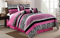 Hot Pink White Black Zebra Leopard Tiger Animal Print Comforter Set King Size