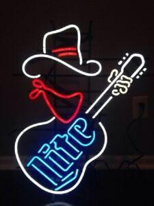 """Miller Lite Cowboy Guitar Neon Sign 20""""x16"""" Light Lamp Beer Bar Pub Decor Glass"""