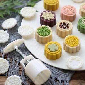 1Set Flower Mooncake Mold Festival DIY Hand Pressure Fondant Pastry Mould ToFY
