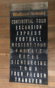 """Wallace Arnold Holiday Excursion Bus Destination Blind 1960s 35"""" Wide VERY RARE"""