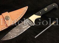 Custom Handmade DAMASCUS HUNTING / SKINNER KNIFE SK-04. BUY 2 GET 1 STEEL FOLDER