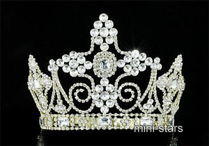 Men's Pageant Imperial Sparkling Tall Tiara Full Circel Gold King Crown AT1803