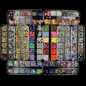Various 3D Nail Art Rhinestones Diamonds Gems Jewelry Rivet Mixed Decorations