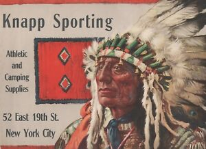Wonderful 1920 Advertising Sign Knapp Sporting Goods NY Great Indian Chief Image