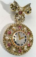 Vintage Victorian Clock Dangle Brooch Pin Gold Tone Pink Rhinestone Faux Pearl