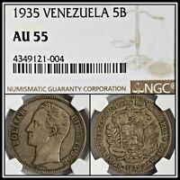 1935 Silver 5B Venezuela 5 Bolivares NGC AU 55 About Unc Vintage Classic Coin