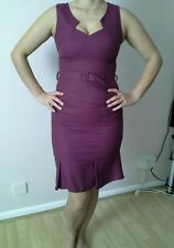 NEXT TAILORED ,OFFICE , BELTED BERRY COLOUR DRESS SIZE 10 NEW WITH TAGS