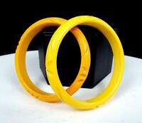 """BAKELITE AUTHENTIC ORIGINAL 2 PC BUTTERSCOTCH & YELLOW 3 1/8"""" CARVED X BANGLES"""