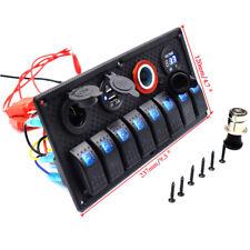 12V/24V 8 GANG BLUE LED ROCKER SWITCH PANEL CIRCUIT BREAKER CAR BOAT US STOCK