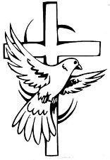 WINDOW, CAR, TRUCK, RELIGIOUS, WALL,  ( CROSS WITH DOVE)  VINYL DECAL, STICKER