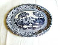 Daher England Blue and White Tin Metal Tray Large Oval Water Boat Scene