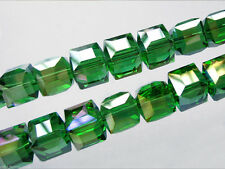 Bulk 30pcs Grass Green Glass Crystal Faceted Cube Beads 8mm Spacer Findings