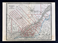 1886 Cram Map - Quebec - Montreal Ottawa Richmond St. Lawrence River - Canada