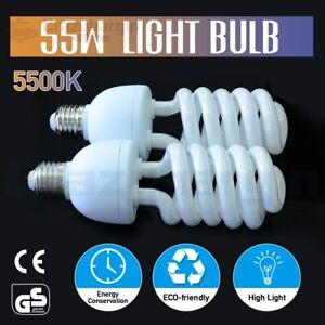 2x55W 5500K Photography Energy Saving Light Bulb Studio Spiral Daylight Lamp E27