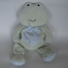 """Carters Frog Small Green BLUE BELLY Bow Beanbag Plush Just One Year 8"""" Repaired"""