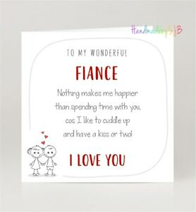 "Fiance Birthday/Valentine's Day Card, Fun 'I Love You' Poem, Blank Inside, 6""x6"""