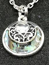 """Tribal New Zealand Abalone Small Charm Tibetan Silver 18"""" Necklace D209"""