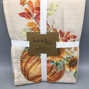Nicole Miller Thanksgiving Beaded Orange Tablecloth Sunflower Orange Fall 60x84
