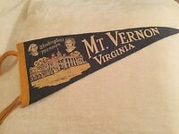 "Vintage Felt Pennant 17.5"" Washingtons Mansion Mt. Vernon Virginia Souvenir Flag"