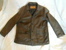 """Genuine Timberland padded brown matt leather mans mens coat, large, 54"""" chest"""