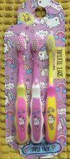 BNIP 3 X PINK YELLOW UNICORN RAINBOW SOFT TOOTHBRUSH KIDS GIRL 3-5Y GIFT CUTE