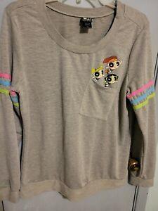 Powerpuff Girls Cartoon network  grey  Long Sleeve ribbed t Shirt size xl