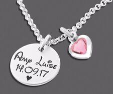 Silberkette mit Herz Kristall, Anhänger mit Namen, Kette mit Wunschnamen