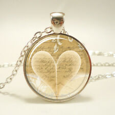 Vintage Cabochon Glass necklace love heart jewelry Silver Charm pendants