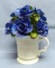 DENTON CHINA ENGLAND BEST BONE HAND MODELLED&PAINTED MUG W/BOUQUET BLUE FLOWERS