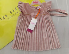Ted Baker Baby Girls Pink Velvet Pleated Dress & Headband Set BNWT Age 3-4