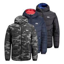 Mens Puffer Jacket JACK & JONES Bend  Hooded Zip Up Bubble Coat