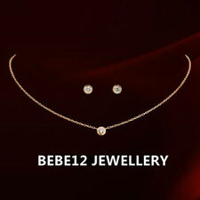 Simulated Diamond Earring&Necklace Set/18K White Rose Gold Plated/S036