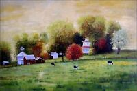 Quality Hand Painted Oil Painting, Countryside Scenery with Flocks 24x36in