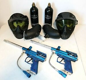 Paintball Package- 2 Blue Spyder Victor Markers, 2 Masks, 2 Hoppers, 2 CO2 Tanks