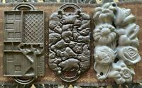 3 for 1! JOHN WRIGHT Cast Iron Flowers, Jungle Puzzle, & Gingerbread Molds