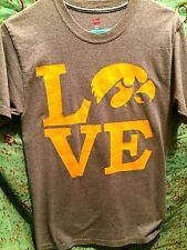 U of Iowa Hawkeye T-SHIRT Hanes S/C/P, Gray Hawkeye Gold LOVE, Black Gold (C110)