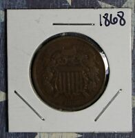 1868 2 CENT PIECE COPPER COLLECTOR COIN FREE SHIPPING