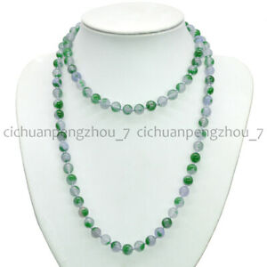 Green Lavender Multi-Color Jade 8mm Round Gemstone Beads Necklace 16-55''