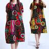 Mode Femme Imprimé Floral Manche Courte Col Rond Casual en vrac Jupe Robe Plus