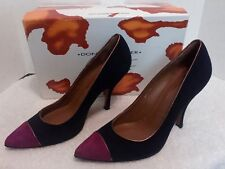 Donald J Pliner Vanya Size 81/2 M Suede Black/Merlot Pump Made in Spain