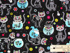Day of the Dead Kitty Cat Cattitude Halloween Fabric by the 1/2 Yard   #4159