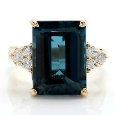 8.30 Carat Natural London Blue Topaz and Diamonds in 14K Solid Yellow Gold Ring