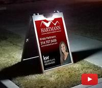 Large Solar Powered Lit A Frame Sidewalk Sign 24' X 36' Inserts Day&Nite
