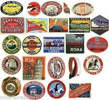 Vintage Hotel Etichetta Bagagli Adesivi 24x Valigie PVC Viaggio Decalcomanie