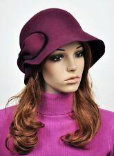 M56 Classic Bow 100% Wool Women's Winter Dress Brim Hat Cap Fedora WINE-RED