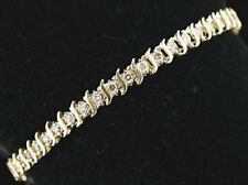 9CT CLASSIC YELLOW S BAR TENNIS BRACELET SIMULATED DIAMONDS ALL ROUND REALISTIC