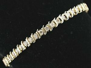 Ladies tennis bracelet cz cubic zirconia s-bar 7 inch 12 carat sparkling 18kt