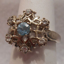 Vintage Antique Estate~Blue Topaz & Clear Gems Sterling Silver Filigree Ring 6